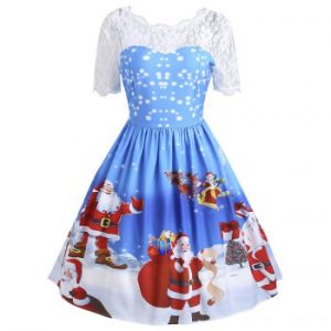 Christmas Santa Claus Print Lace Insert Dress