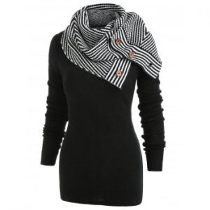 Long Sleeve Sweater with Striped Scarf