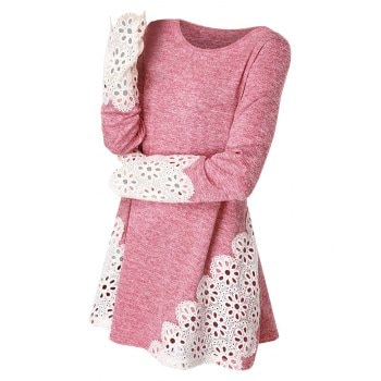 Lace Panel Long Sleeve Top