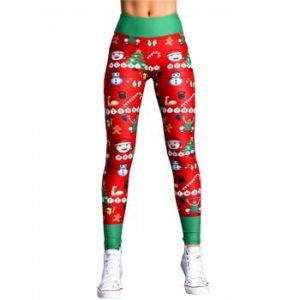 Womens Christmas Digital Print Yoga Fitness Leggings