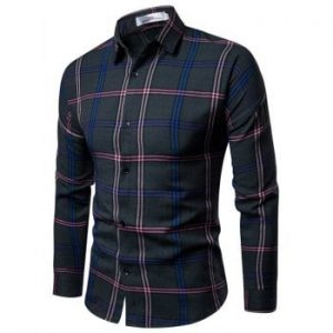 Autumn Men Slim Long sleeved Korean Plaid Fashion Casual Shirt