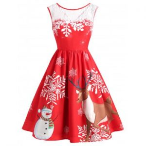 Christmas Snowflake Print Vintage Dress