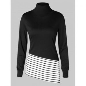 Striped Side Split High Low Hem Sweatshirt