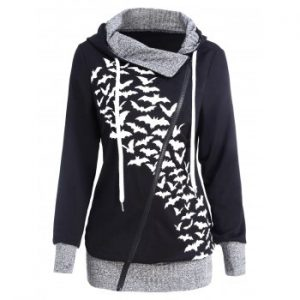 Bat Pattern Print Side Zip Drawstring Hoodie