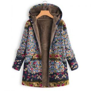 Printed Hooded Sweater Warm Parka