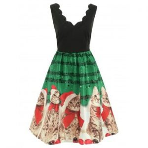 Christmas Musical Notes and Cats Dress