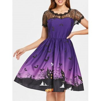 Halloween Lace Insert Pin Up Dress