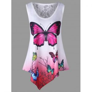 Butterfly Print Ombre Color Tank Top