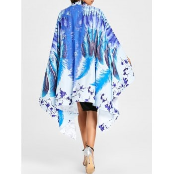 Feather Floral Print Cape