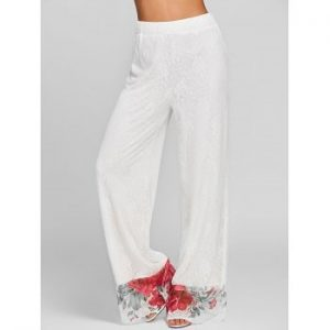 Floral Lace Wide Leg Pants