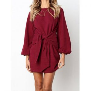 Autumn New Style Women Fashion Long Sleeve Frenulum Sexy Casual Midi Slim Soild Dress
