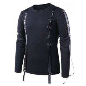 PU Leather Strap Casual T shirt