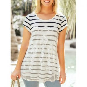 Striped Lace Patchwork Round Neck Top