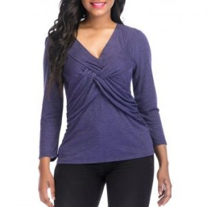 V Neck knotted Front Casual Top