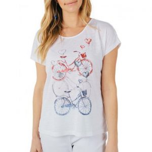 Bicycle with Heart Balloons Print T shirt