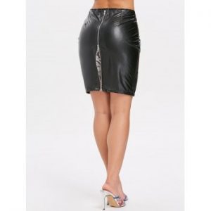 Lace Insert Faux Leather Skirt