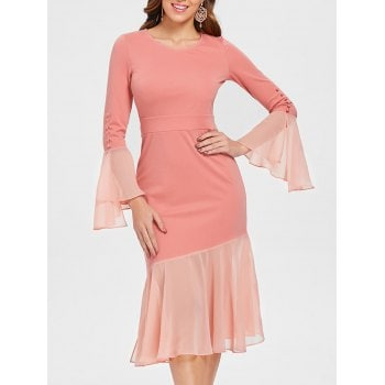 Chiffon Insert Fishtail Dress