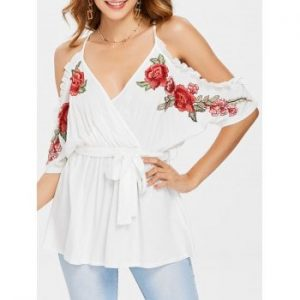 Belted Surplice Blouse