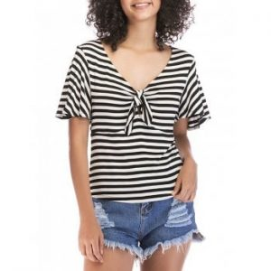 Knotted Front Striped Short Sleeve Top