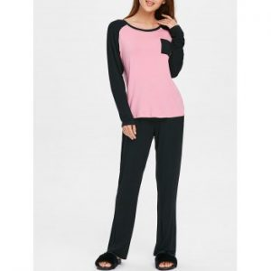 Two Tone Long Sleeves Pocket Sleepwear Set