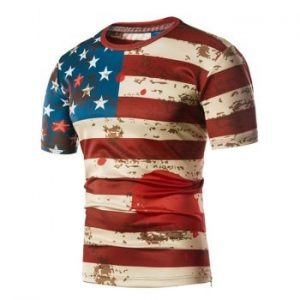 Flag Scrawl Print Zipper Hem T shirt