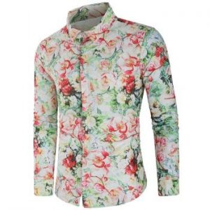Allover Flower Print Hidden Button Shirt