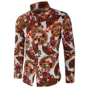 Fan and Flower Print Long Sleeve Shirt