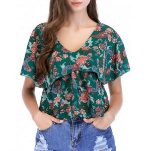 Floral Print Ruffle Sleeve Casual Blouse