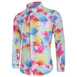 Paint Splash Print Long Sleeve Shirt