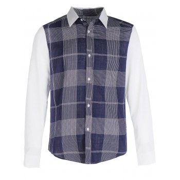 Plaid Pattern Patchwork Casual Shirt