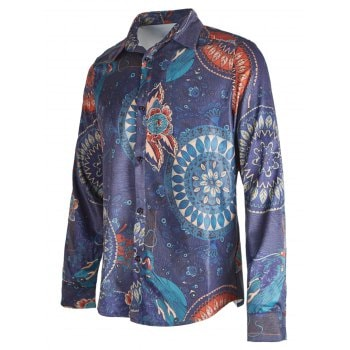 Ethnic Floral Printed Button Up Shirt