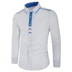 Casual Button Up Color Block Shirt