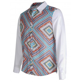 Ethnic Style Geometric Print Button Up shirt