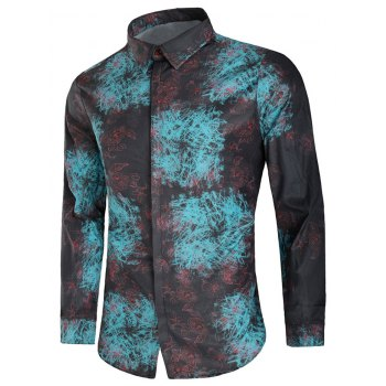 Hidden Button Scrawl Floral Print Long Sleeve Shirt