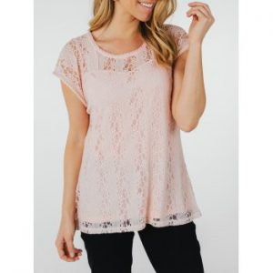 Lace Hollow Short Sleeve Summer Blouse