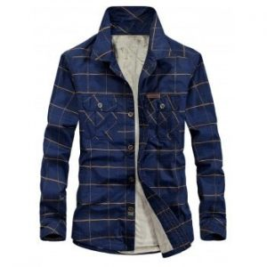 Plaid Print Button Pockets PU Patch Detail Fleece Shirt
