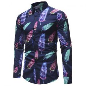 Colorful Feather Printed Long Sleeve Shirt