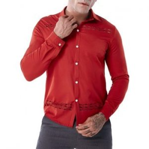 Solid Color Hollow Out Shirt