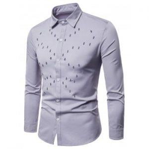 Solid Color Chest Hollow Design Shirt