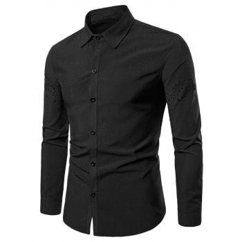 Openwork Long Sleeve Solid Color Shirt