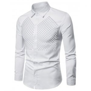 Solid Color Hollow Out Button Up Shirt