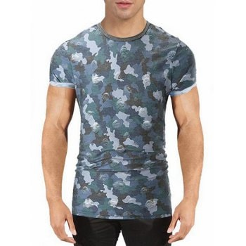 Ripped Camouflage Print T shirt