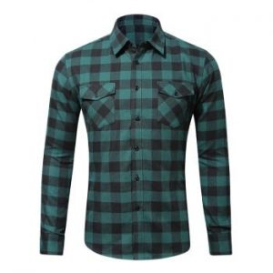 Two Flap Pockets Casual Plaid Shirt