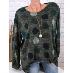 Women Fashion Long Sleeve Polka Dot Round Neck Loose T shirt