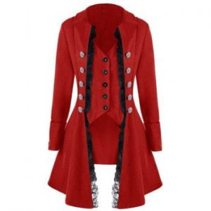 Women Long Sleeve Button Irregular Coat