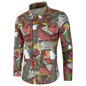 Long Sleeves Cover Button Graphic Shirt