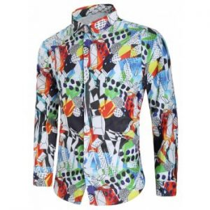 Covered Button Long Sleeves Graphic Shirt