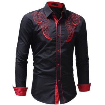 Men s Casual Slim Fit Chest Embroidered Long Sleeve Shirt