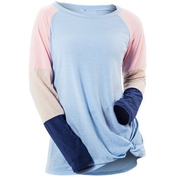 Womens Long Sleeve Patchwork Color Block Sweatshirt Casual Tunic Top