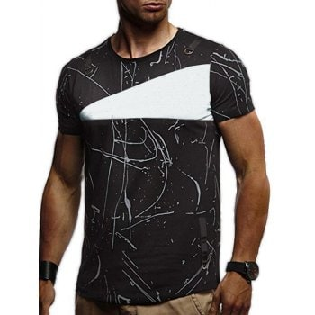 Short Sleeves Lines Panel Casual Shirt